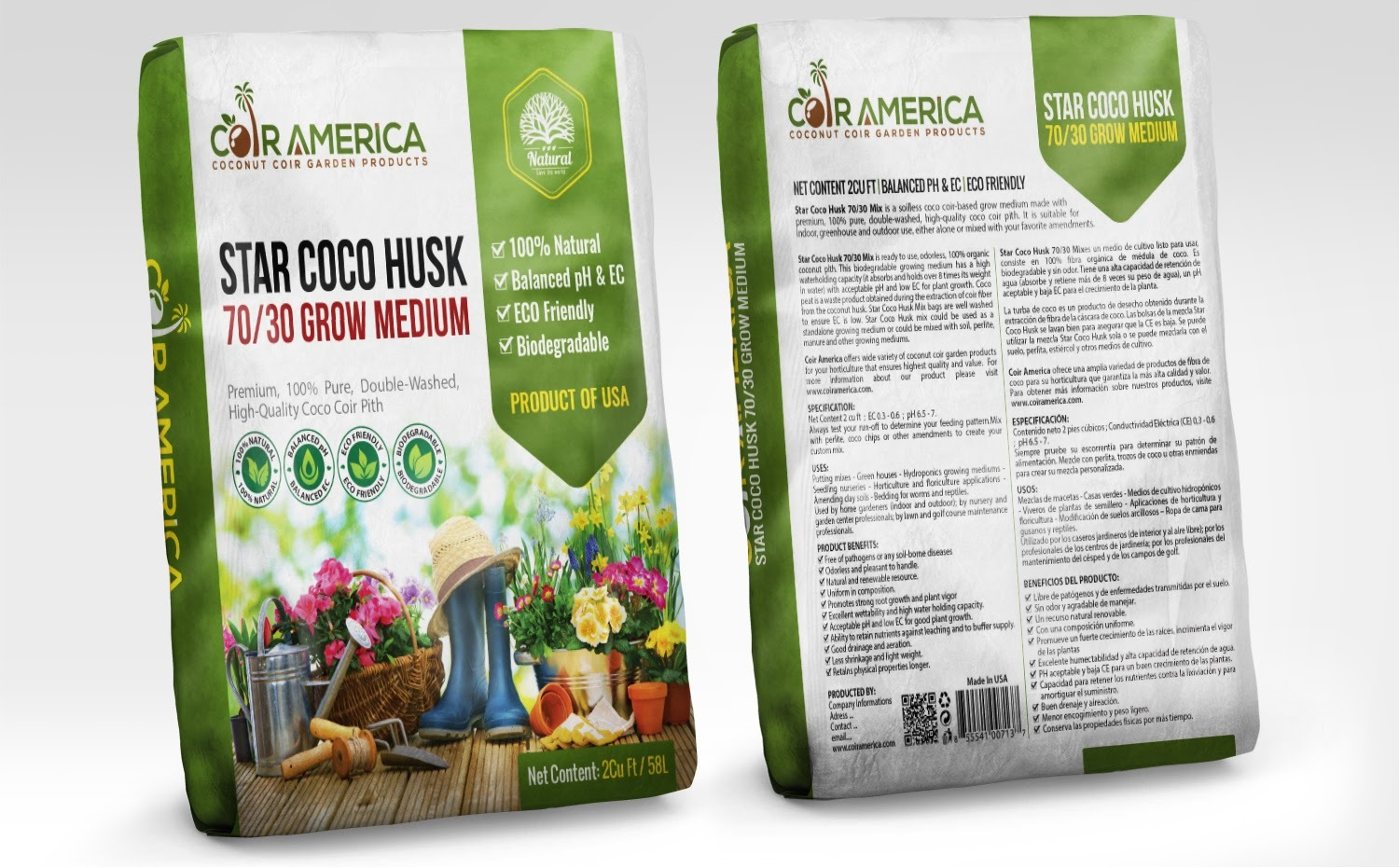 All Natural Coco Peat Loose Bag - Coco Coir Soil Mix